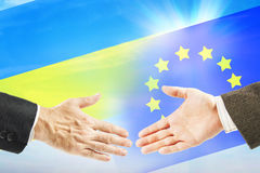 Friendly relations between European Union and Ukraine Royalty Free Stock Photo