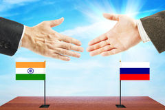 Friendly relations between India and Russia Stock Photos