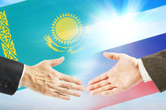 Friendly relations between Kazakhstan and Russia Stock Photo