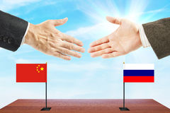 Friendly relations between Russia and China. Concept of talks and diplomacy stock photo