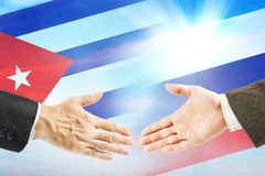 Friendly relations between Russia and Cuba stock photo