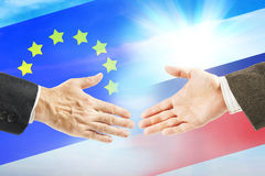 Friendly relations between Russia and European Union Royalty Free Stock Images