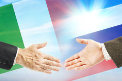 Friendly relations between Russia and Italy Stock Photo
