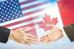 Friendly relations between United States and Canada Stock Photos