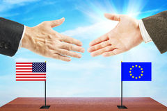 Friendly relations between USA and European Union Stock Photo