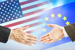 Friendly relations between USA and European Union Royalty Free Stock Photo