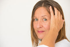 Friendly relaxed mature woman portrait Royalty Free Stock Photography