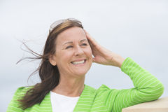 Friendly relaxed smiling woman Stock Images