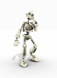 Friendly robot. A friendly robot with a smile isolated on white Royalty Free Stock Images