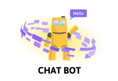 Friendly robot in the circle of text messages. Chatbot and social media. Flat vector illustration. Isolated on white. Friendly robot in the circle of text vector illustration