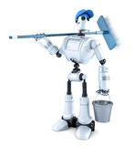 Friendly robot cleaner. Isolated. Contains clipping path Stock Photos