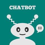 Friendly robot with a smiling face. Icon speech bubble with message. Text Chatbot. Stock Image