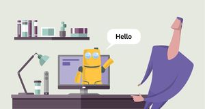 Friendly robot talking to a man from computer screen. Chatbot conversation. Chatterbot saing hello. Concept vector royalty free illustration
