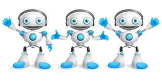 Friendly robots vector character set. Funny mascot robot design. Element for presentation with postures and hand gestures isolated in white. Vector illustration royalty free illustration