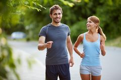 Friendly runners Stock Photography
