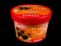Friendly`s Individual Peanut Butter Cup Ice Cream Sundae. Friendly`s Individual Ice Cream Sundae on a black backdrop royalty free stock images