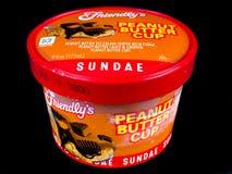 Friendly`s Individual Ice Cream Sundae`s. On a black backdrop royalty free stock image