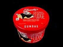 Friendly`s Individual Original Fudge Ice Cream Sundae. Friendly`s Individual Ice Cream Sundae on a black backdrop royalty free stock images