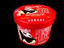 Friendly`s Individual Original Fudge Ice Cream Sundae. Friendly`s Individual Ice Cream Sundae on a black backdrop stock photos