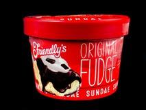 Friendly`s Individual Original Fudge Ice Cream Sundae. Friendly`s Individual Ice Cream Sundae on a black backdrop stock photography