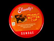 Friendly`s Individual Peanut Butter Cup Ice Cream Sundae. Friendly`s Individual Ice Cream Sundae on a black backdrop royalty free stock photo