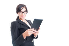 Friendly saleswoman holding a tablet Royalty Free Stock Photography