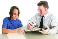 Friendly School Guidance Counselor. Or therapist advising an adolescent student. White background stock images