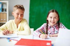 Friendly schoolchildren Stock Photos