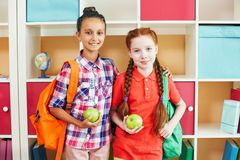 Friendly schoolgirls Royalty Free Stock Photo