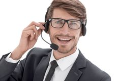 Telephone operator in the office stock images