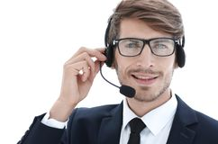 Telephone operator in the office stock image