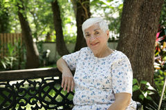 Friendly Senior in Park Stock Image