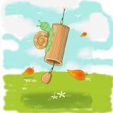 Friendly sensitive snail on the Bamboo Bells vector illustration