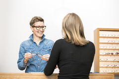 Friendly service at the optometry Stock Images