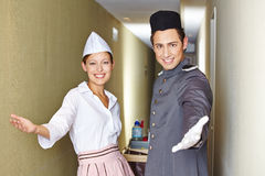 Friendly service team in hotel Stock Photo