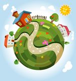 Friendly small Planet. Vector Illustration Royalty Free Stock Photography