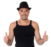 Friendly smile athletic man gesture thumbs up Royalty Free Stock Photo