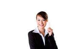 Friendly smile with a card 3. Beautiful business woman with a smile and holding a card Stock Image