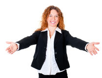 Friendly smiling business woman welcoming Royalty Free Stock Image