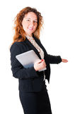 Friendly smiling business woman welcoming Stock Photos