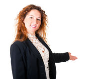 Friendly smiling business woman welcoming Stock Images