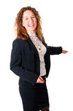 Friendly smiling business woman welcoming Stock Image