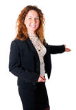 Friendly smiling business woman welcoming Royalty Free Stock Photo