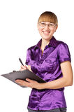Friendly smiling businesswoman holding chart Stock Image