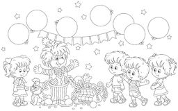 Circus clown and children. Friendly smiling comic with his pup, toys and balloons playing with small girls and boys, a black and white vector illustration in a Stock Photos