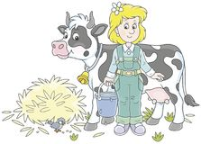 Milkmaid and Cow. Friendly smiling cute dairymaid holding a bucket full of milk and standing near her cow after milking, a vector illustration in a cartoon style Royalty Free Stock Images