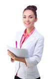 Friendly smiling doctor holding chart Royalty Free Stock Photos