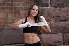 Friendly smiling female boxer Stock Photos