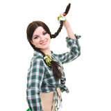 Friendly smiling girl with pigtails Stock Photo