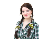 Friendly smiling girl with pigtails Stock Photography